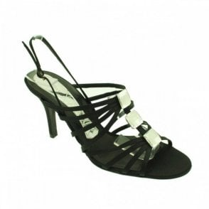 Satin Strappy Heel Sandal With Crystal