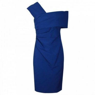 Dress Code By Veromia Sculpted Off The Shoulder Blue Dress