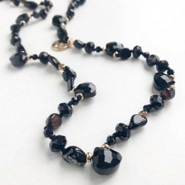 Bcharmd Semi Precious Black Agate Long Necklace