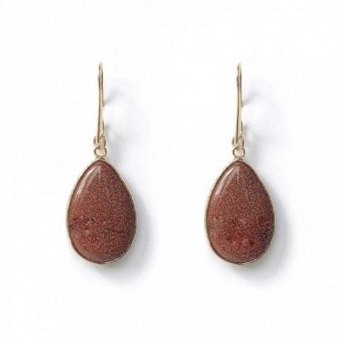 Bcharmd Semi Precious Brown Tear Drop Earrings
