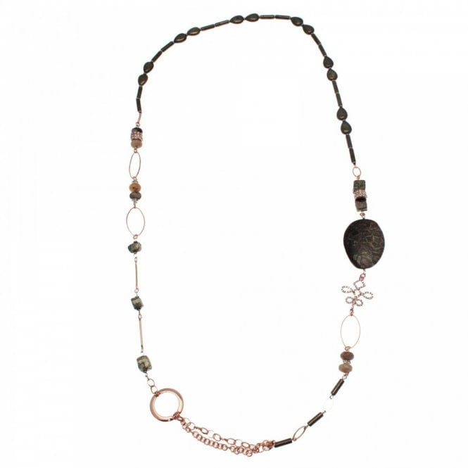 Nour London Semi Precious Stone Long Necklace