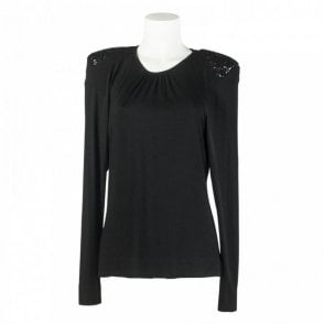 Sequin Shoulder Pad Long Sleeve Top