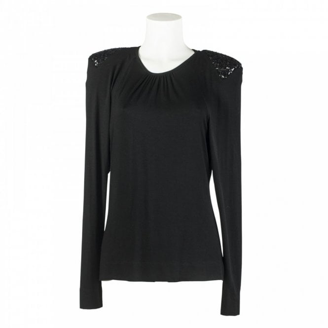 Isabel De Pedro Sequin Shoulder Pad Long Sleeve Top