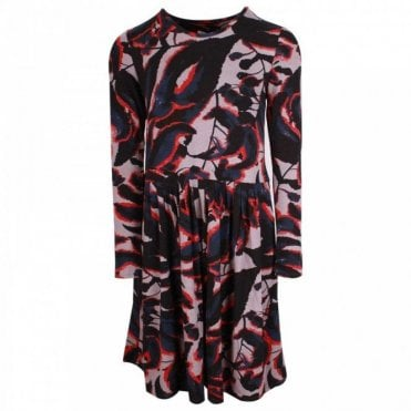 Thought Shadow Leaf Design Long Sleeve Dress