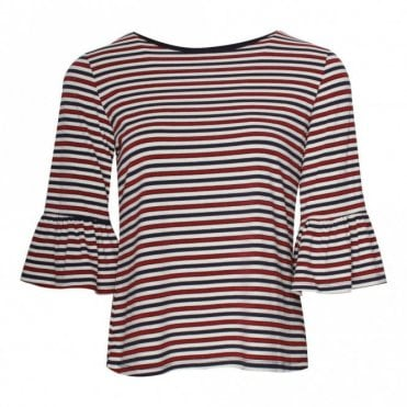 Leo Guy Shimmer Stitch Pinstripe Bell Sleeve Top