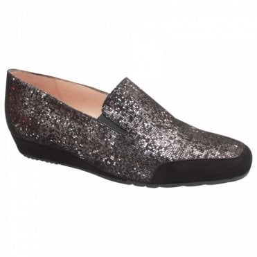 Shimmering Suede Slip On Moccasin Shoe