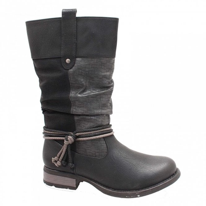 Rieker Short Boot With Tie Knot