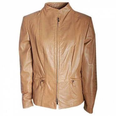 Short Leather Jacket With Pleat Detail