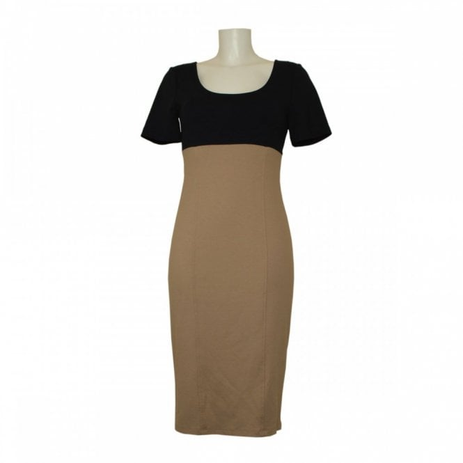Isabel De Pedro Short Sleeve Block Colour Pencil Dress