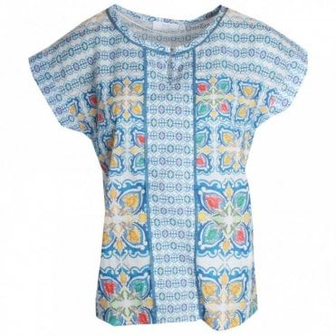 Just White Short Sleeve Blue Printed T-shirt