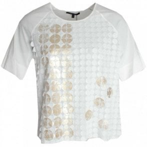 Marie Mero Short Sleeve Circle Embellished Top