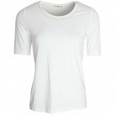 Short Sleeve Diamante Neckline Top