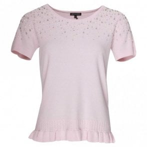 Leo Guy Short Sleeve Pearl Detail Pink Jumper