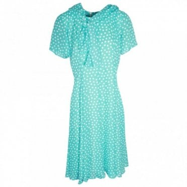 Hudson & Onslow Short Sleeve Polka Dot Dress With Scarf