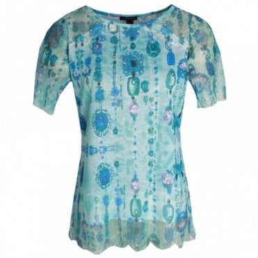 Short Sleeve Printed Lace T-shirt