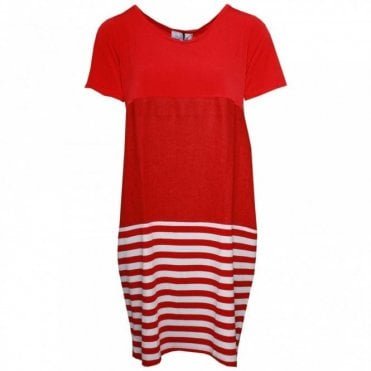 Short Sleeve Stripe Detail Linen Dress