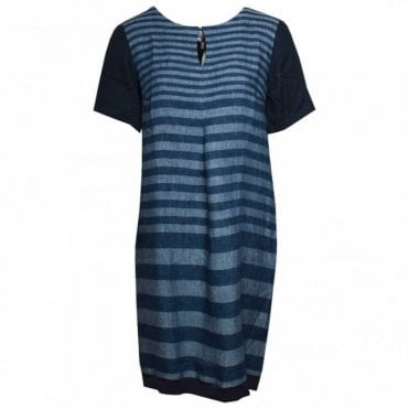 Short Sleeve Striped Linen Dress
