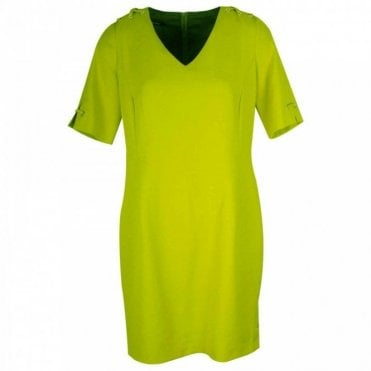 Short Sleeve V-neck Lime Shift Dress