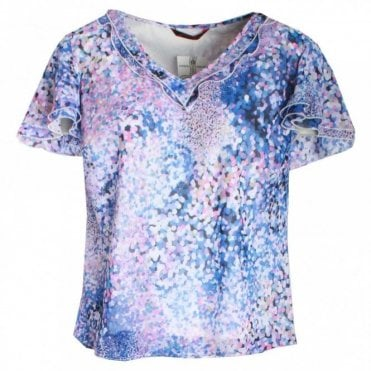 Short Sleeve V-neck Printed Top