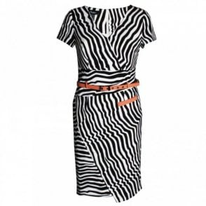 Short Sleeve Zebra Print Dress With Belt