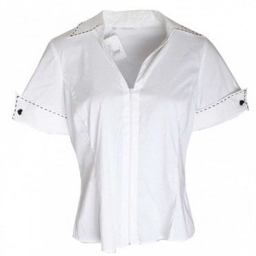 Rayure Short Sleeve Zip Blouse