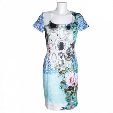 Short Slv Gem Print Dress