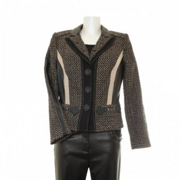 Short Wool Blend Tweed Women's Jacket