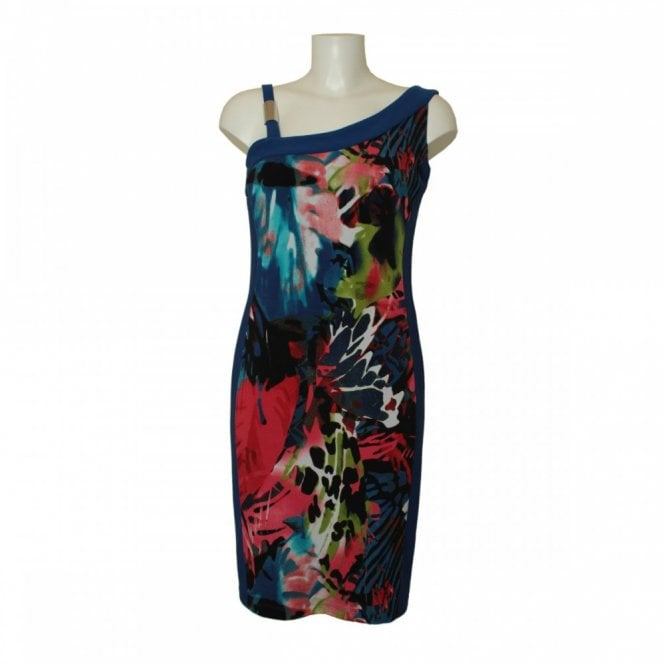 Frank Lyman Shoulder Detail Panel Print Dress
