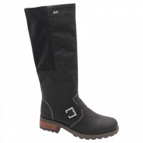 Rieker Side Stretch Black Long Winter Boot