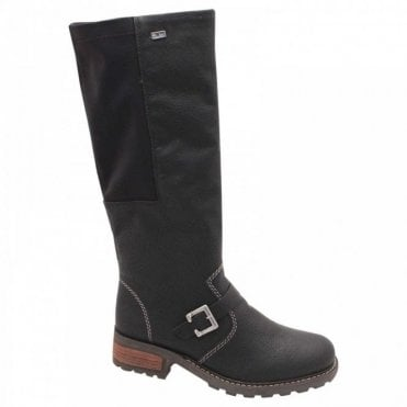 Side Stretch Black Long Winter Boot