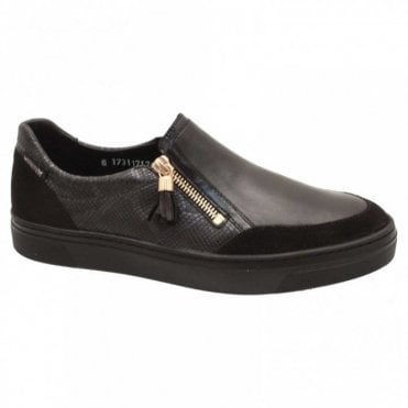 Side Zip Textured Moccasin