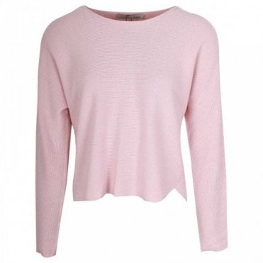 Silk Blend Pink Rib Knit Jumper