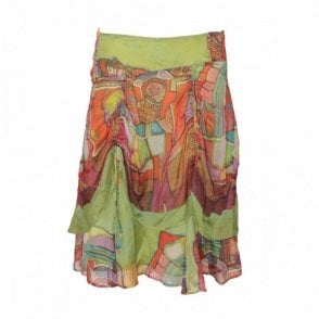 Silk Multi Print Skirt