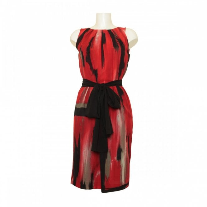Isabel De Pedro Silk Printed Tie Belt Detail Dress