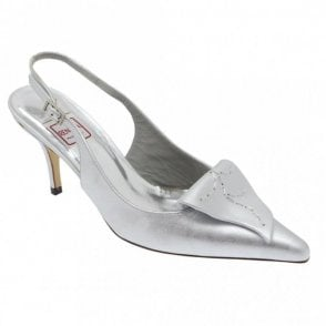 Silver Broc Sling Back With Leaf Detail
