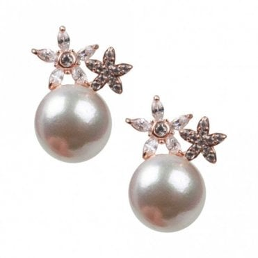 Nour London Silver Double Star Pearl Stud Earrings