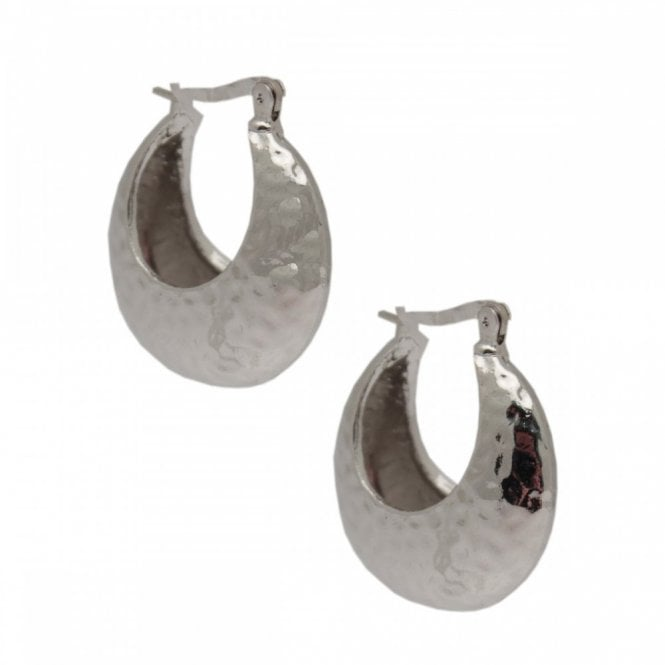 Nour London Silver Hoop Embossed Earrings