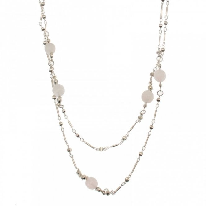 Bcharmd Silver Plated Rose Quartz Long Necklace