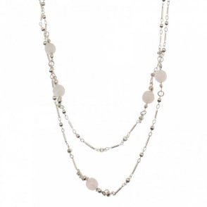 Silver Plated Rose Quartz Long Necklace