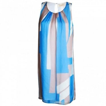 Sleeveless Abstract Design Silk Dress