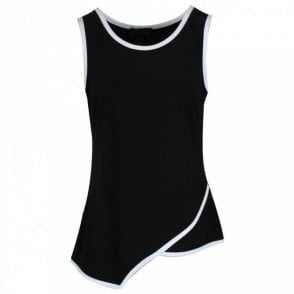 Frank Lyman Sleeveless Asymetric Black Vest Top