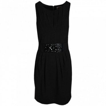 Sleeveless Beaded Belt Pleat Dress