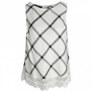 Badoo Sleeveless Check Print Lace Trim Top
