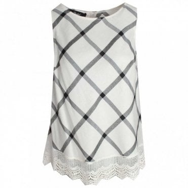 Sleeveless Check Print Lace Trim Top
