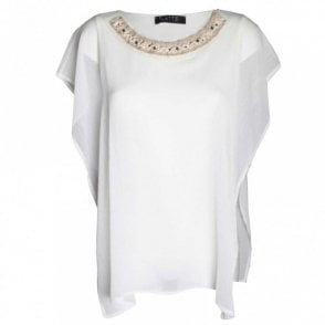 Sleeveless Chiffon Top Wth Beaded Collar