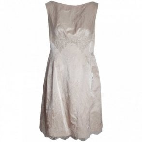 Sleeveless Dress With Lace Hem