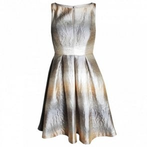 Sleeveless Flared Metallic Dress