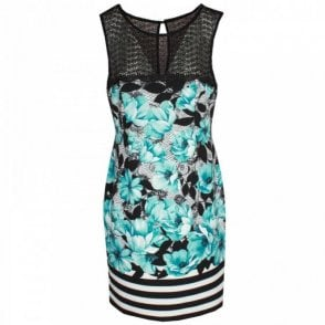 Michaela Louisa Sleeveless Floral Print Lace Neck Dress