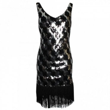 Sleeveless Fringe Hem Cocktail Dress