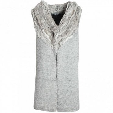 Sleeveless Knitted Fur Collar Jacket